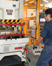 Close up shot of the AIDA NC1-D Servo Press at NAVA Hermanos S.A.