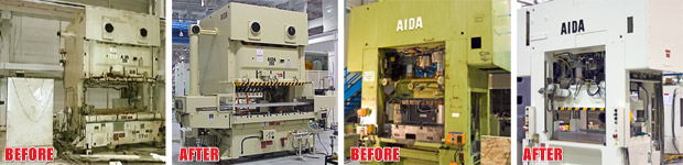 Complete Press Refurbishment : Before and After photo of an AIDA NC2 and an AIDA HMX