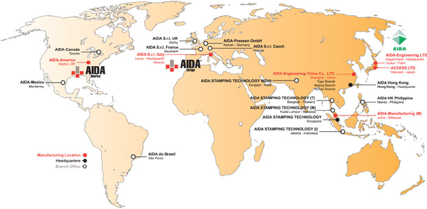 AIDA глобальная сеть, производство, продажи, обслуживание