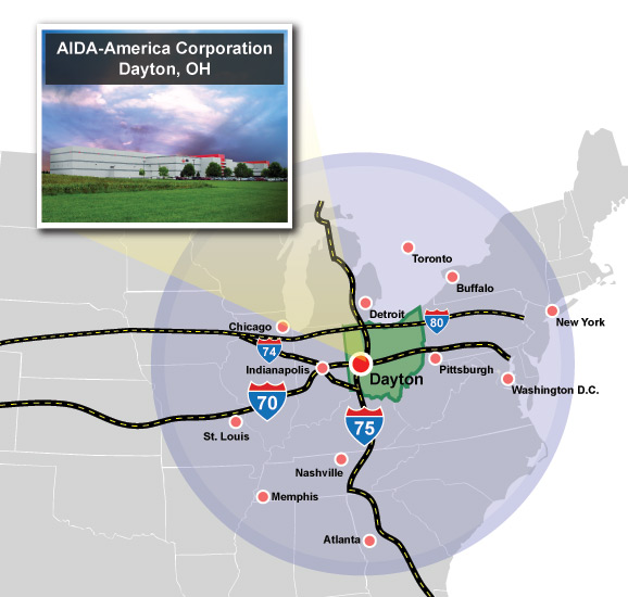AIDA-America is located within 620 miles of 62% of all US and Canadian manufacturing